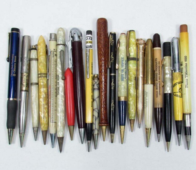 9: LOT OF APPROX. 20 VINTAGE ADVERTISING MECHANICAL PEN
