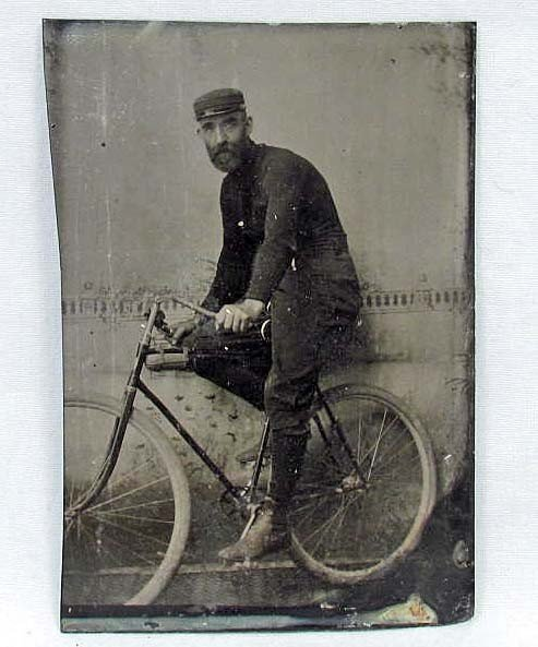 11: RARE ANTIQUE TIN TYPE PHOTO OF MAN ON BICYCLE
