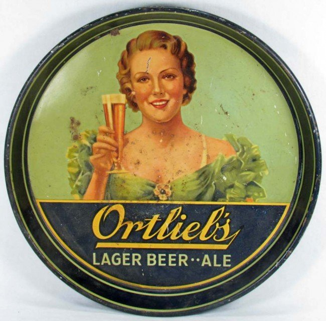 123: C. 1930'S ORTLIBE'S ADVERTISING BEER TRAY