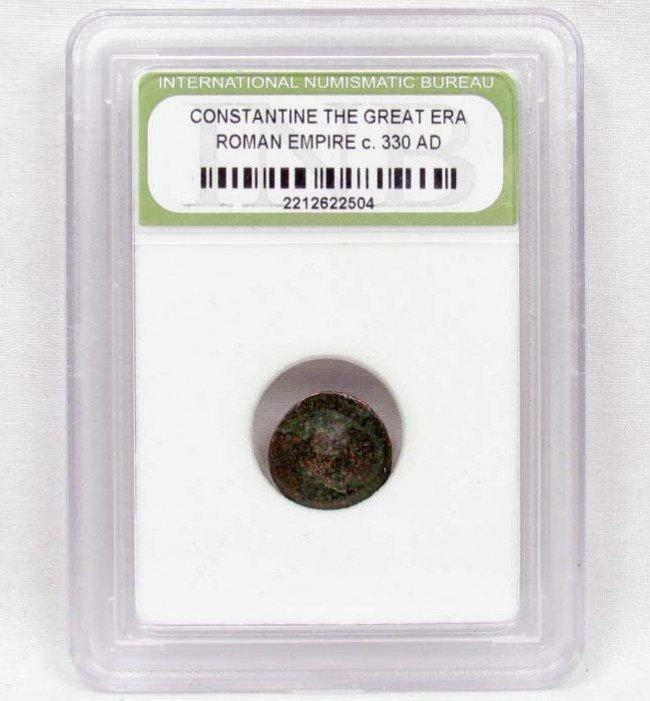 3: C. 330 AD ROMAN EMPIRE CASED COIN - CONSTANTINE THE