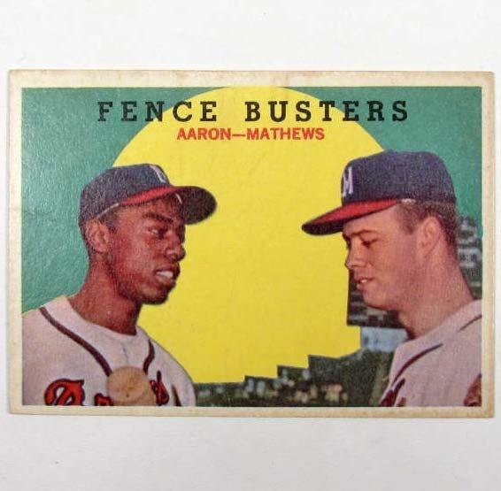 10: 1959 TOPPS HANK AARON & EDDIE MATTHEWS NO. 212 BASE