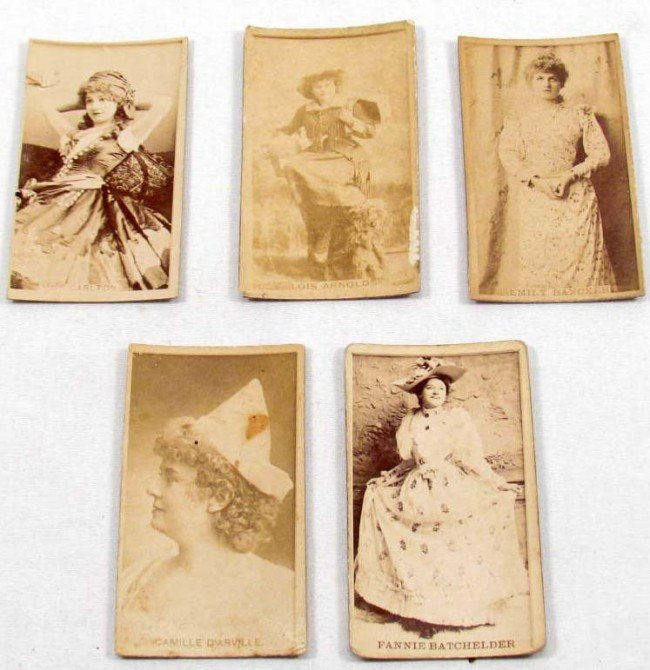 13: LOT OF 5 C. 1890'S ACTRESS CIGARETTE CARDS - SWEET