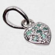 4: STERLING SILVER AND COLOMBIAN EMERALD HEART PENDANT