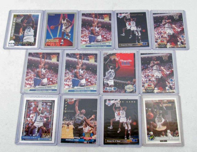 13: LOT OF 13 SHAQUILLE O'NEAL BASKETBALL CARDS