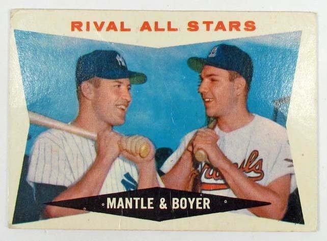 19: 1960 TOPPS MANTLE/BOYER NO. 160 BASEBALL CARD