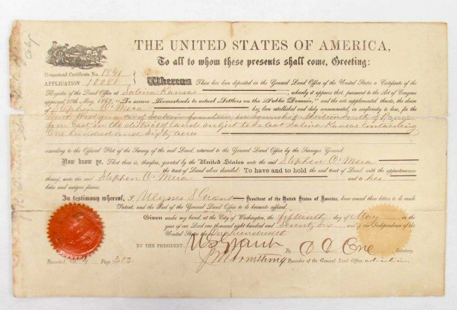 3: 1876 UNITED STATES LAND GRANT SIGNED BY PRESIDENT GR