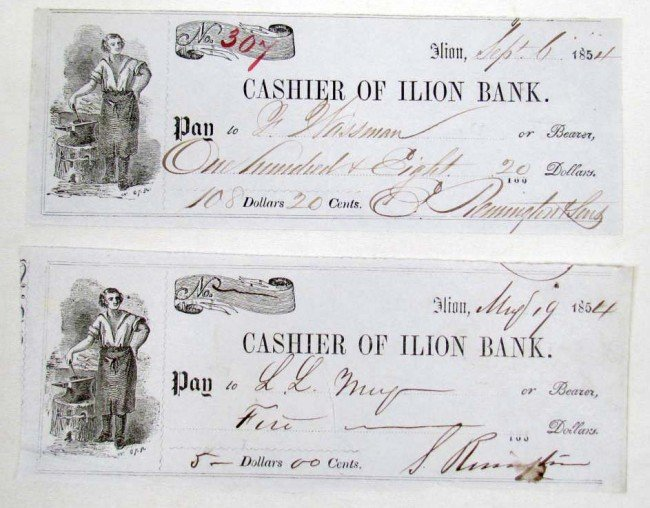 4: LOT OF 2 1954 CHECKS SIGNED BY THE REMINGTON BROTHER