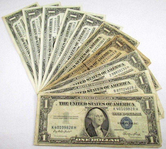 5: LOT OF 10 US 1 DOLLAR SILVER CERTIFICATES