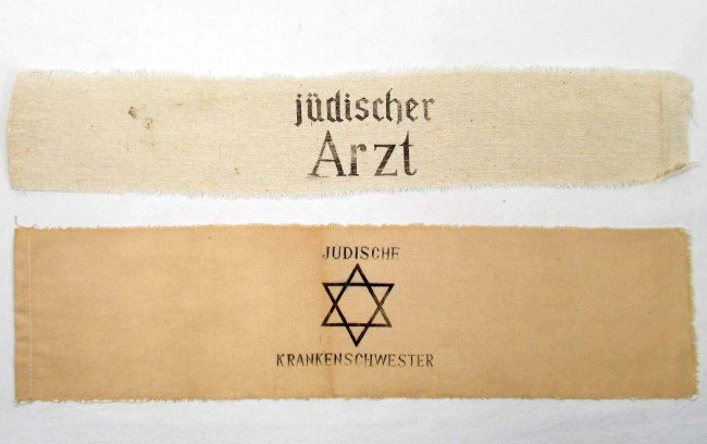 9: LOT OF 2 GERMAN HOLOCAUST ARM BANDS - JEWISH DOCTOR