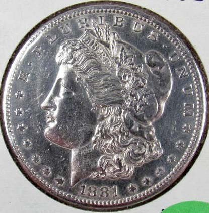 10: 1881-S MORGAN SILVER DOLLAR - BU