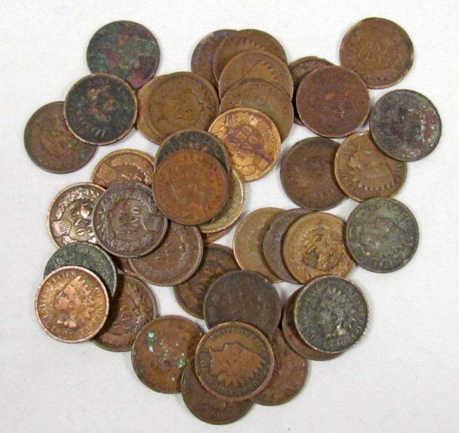 16: LOT OF 40 UNSEARCHED INDIAN HEAD PENNIES - MIXED DA