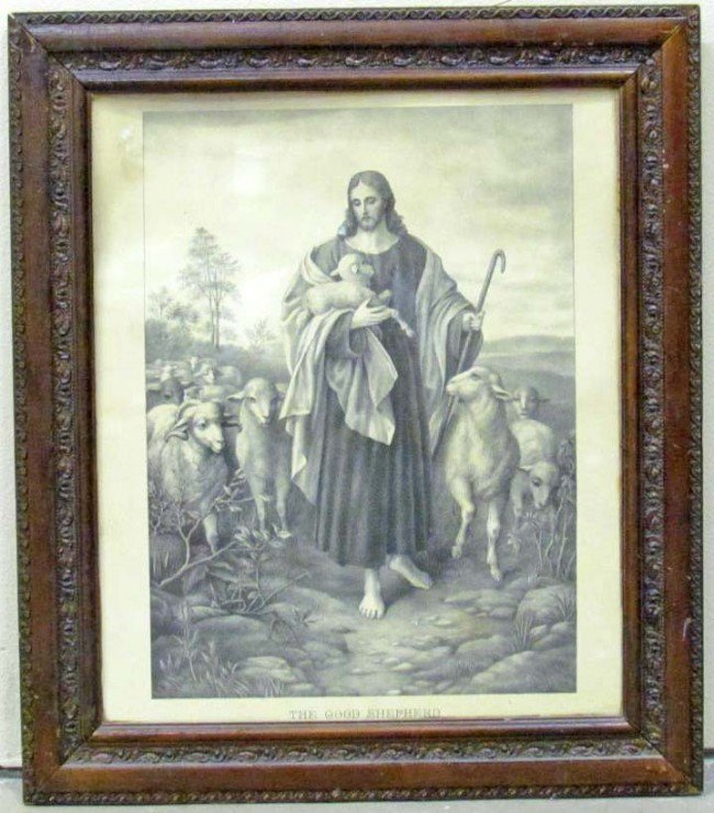 """17: ANTIQUE """"THE GOOD SHEPHERD"""" ETCHING - FRAMED"""