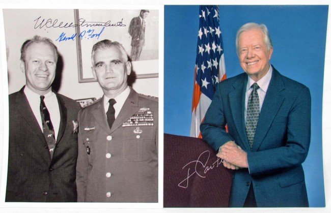19: LOT OF 2 SIGNED PHOTOS - PRESIDENT FORD AND PRESIDE
