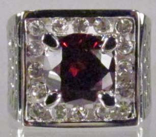 15: STERLING SILVER GARNET AND WHITE TOPAZ RING - SIZE