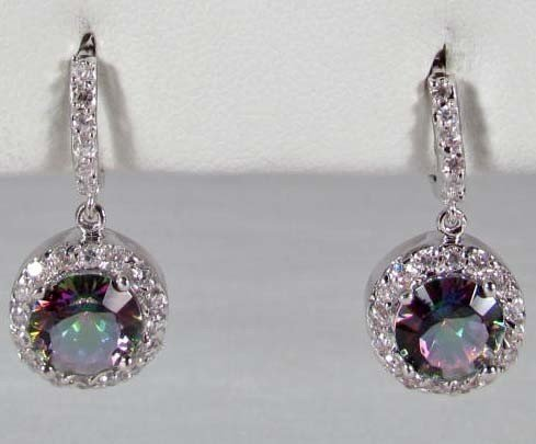 21: PAIR OF STERLING SILVER, MYSTIC AND WHITE TOPAZ EAR