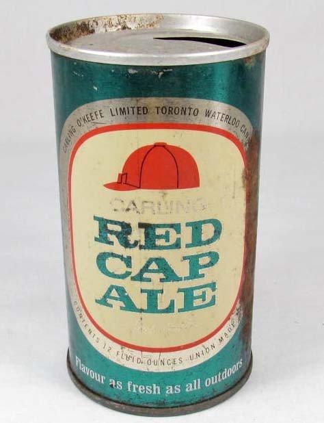 23: VINTAGE RED CAP ALE FLAT-TOP BEER CAN