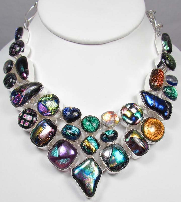 70: STERLING SILVER AND DICHROIC ART GLASS NECKLACE - 5