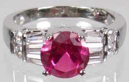 4: 757 - WHITE GOLD PLATED RUBY & TOPAZ RING - SZ. 6 -