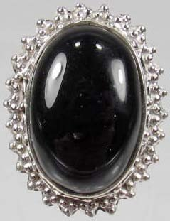 7: 784 - STERLING SILVER ONYX RING - SZ. 8.5 - 46.2 CTW