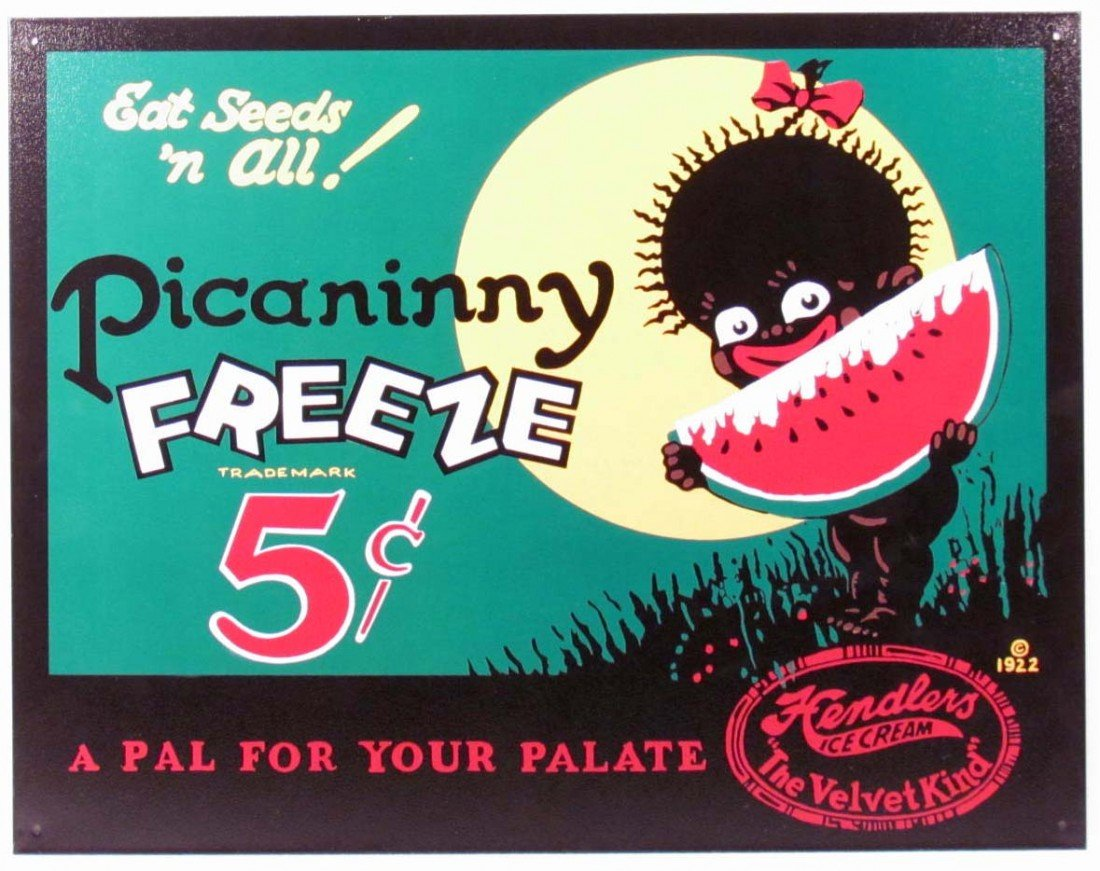 9: 953 - PICANINNY FREEZE 5 CENTS METAL ADVERTISING SIG