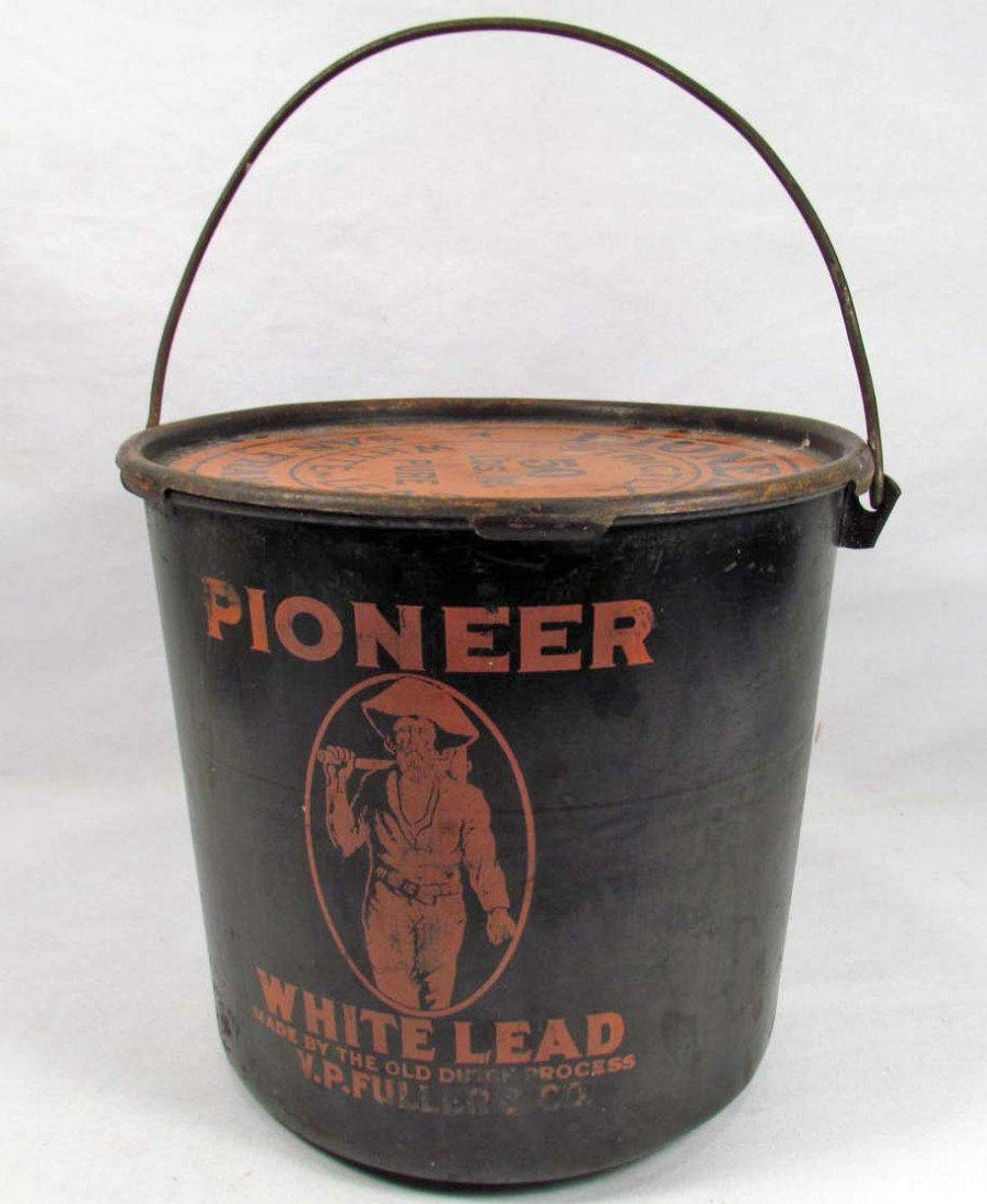 10: VINTAGE PIONEER WHITE LEAD ADVERTISING PAINT CAN W/