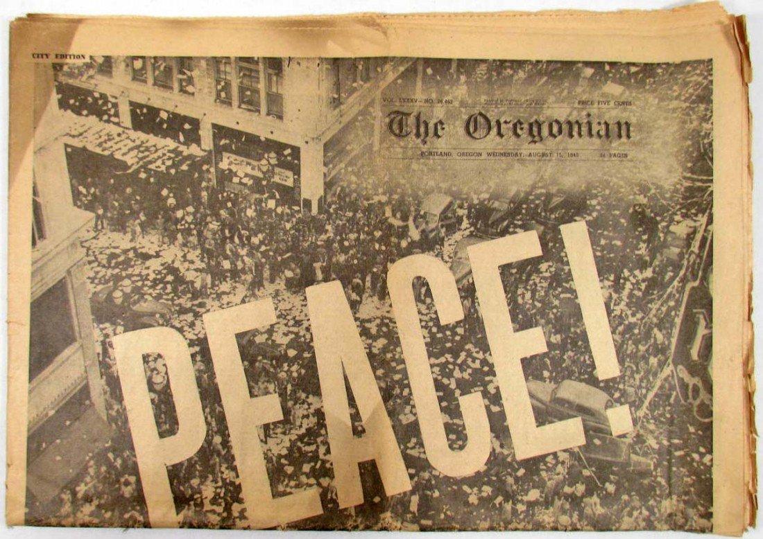 "12: AUGUST 15, 1945 ""THE OREGONIAN"" NEWSPAPER - HEADLIN"
