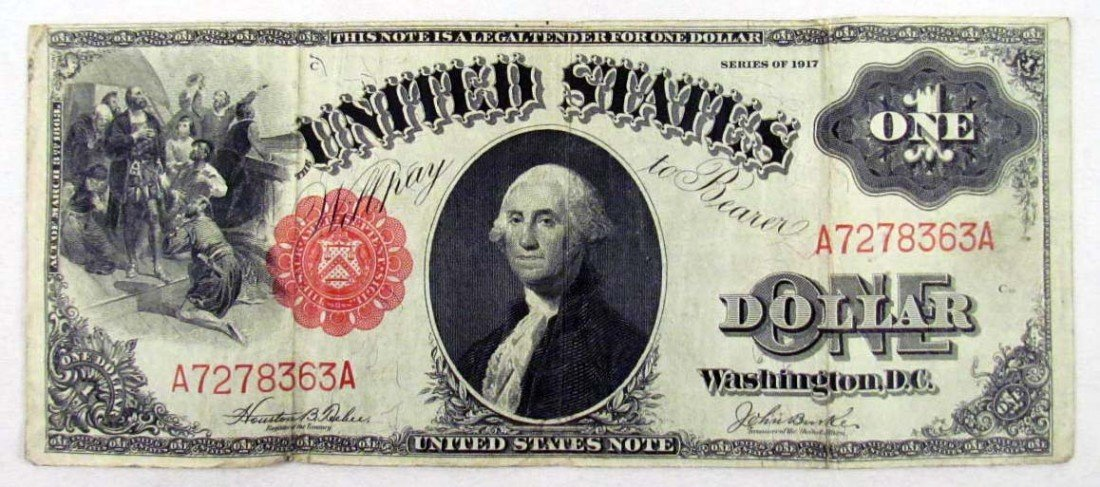 15: 1917 US ONE DOLLAR NOTE - RED SEAL - LARGE