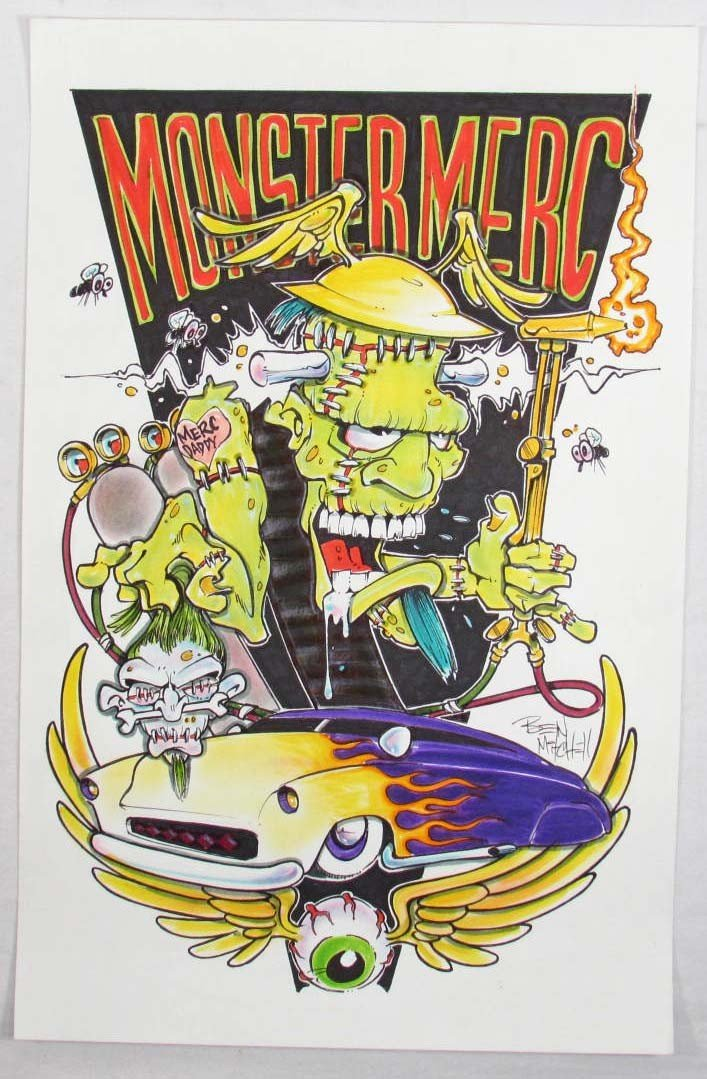 """19: ORIGINAL INK """"MONSTER MERC"""" PAINTING ON PAPER BY BE"""
