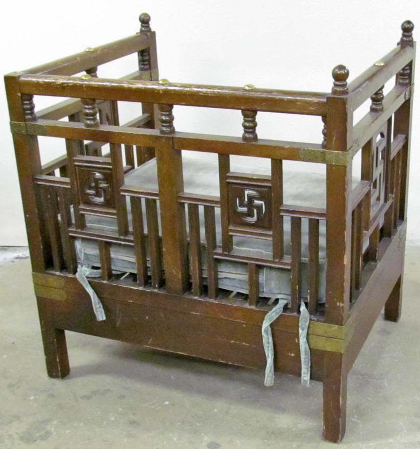 84: WOODEN CHAIR W/  INDIAN PEACE OR SWASTIKA  DESIGN - 2