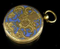 176 MWF50  Lovely Enameled Gold Filled Locket 19th c