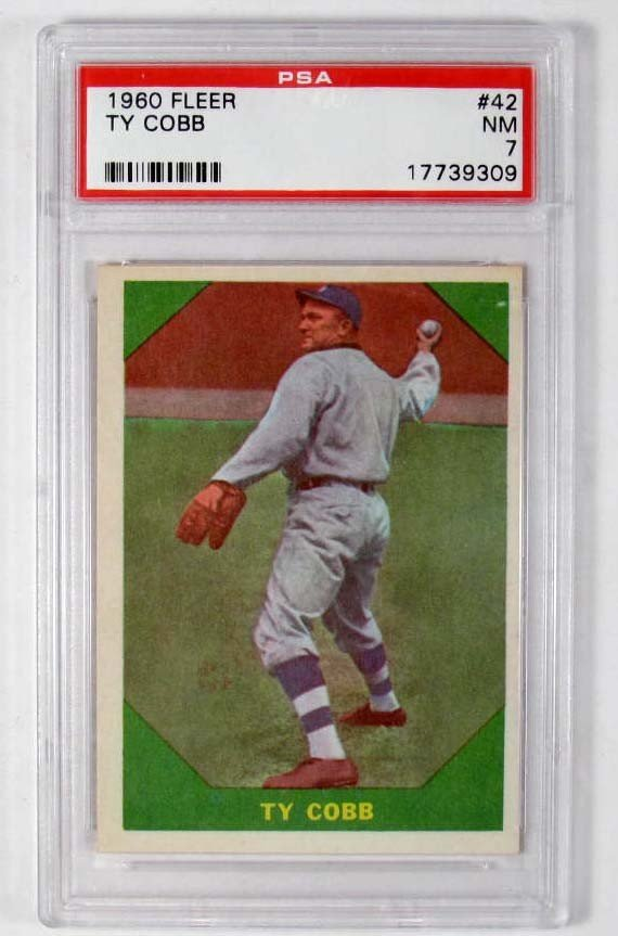 4: 1960 FLEER TY COBB BASEBALL CARD NO. 42 - PSA NM 7