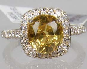 13: 14K GOLD LADIES SAPPHIRE AND DIAMOND RING - SIZE 7.