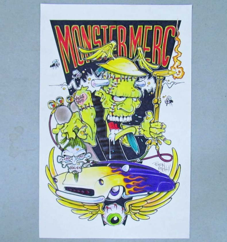 "23: ORIGINAL INK ""MONSTER MERC"" PAINTING ON PAPER BY BE"
