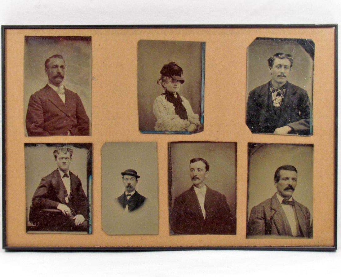 4: LOT OF 7 ANTIQUE TIN TYPE PHOTOS - FRAMED