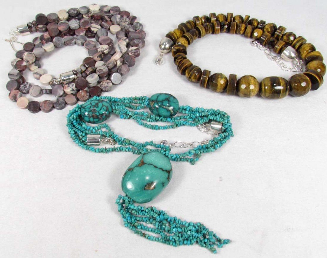 14: LOT OF 3 ESTATE JEWELRY NECKLACES W/ STERLING SILVE