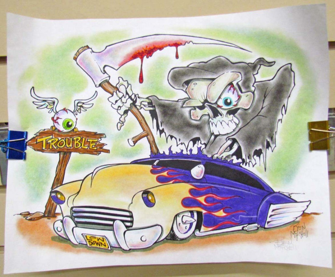 """20: ORIGINAL INK """"DEATH DRIVER"""" AIRBRUSH PAINTING ON PA"""
