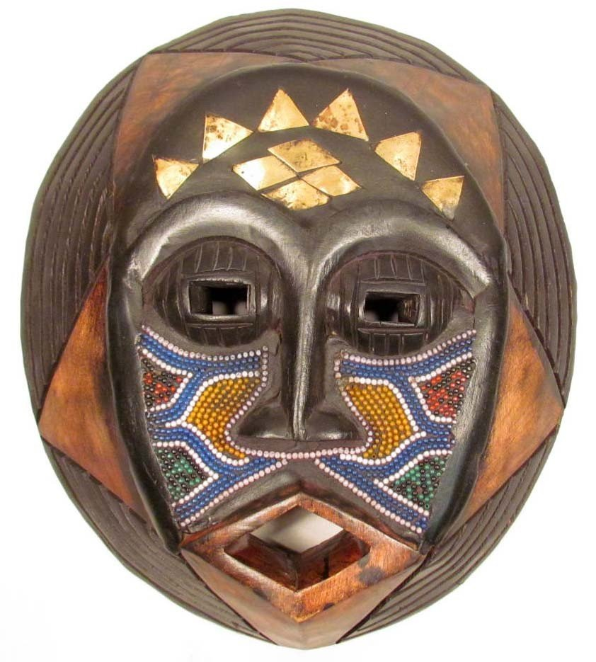 "2: 3656 - HAND CARVED AFRICAN TRIBAL MASK - 13"" TALL"