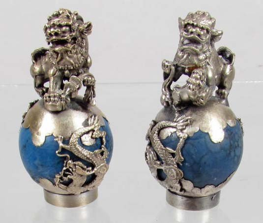 14: 3746 - PAIR OF TURQUOISE & METAL FOO DOG FIGURINES