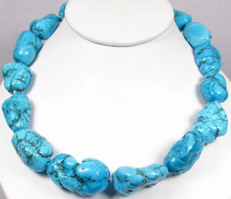 15: 3425 - SEA BLUE TURQUOISE NUGGET NECKLACE