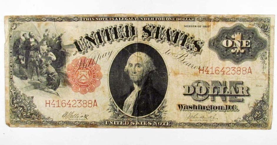 17: 3414 - 1917 ONE DOLLAR NOTE - RED SEAL - LARGE