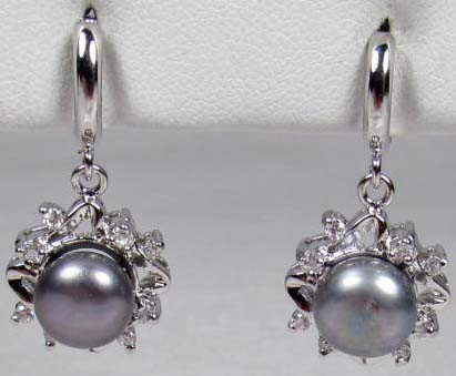 18: 3132 - PAIR OF WHITE GOLD PLATED BLACK PEARL & TOPA