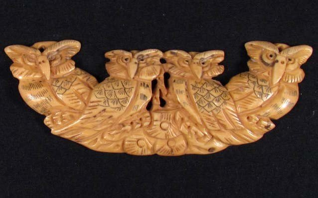 22: 3419 - HAND CARVED BONE AMULET PENDANT - OWLS