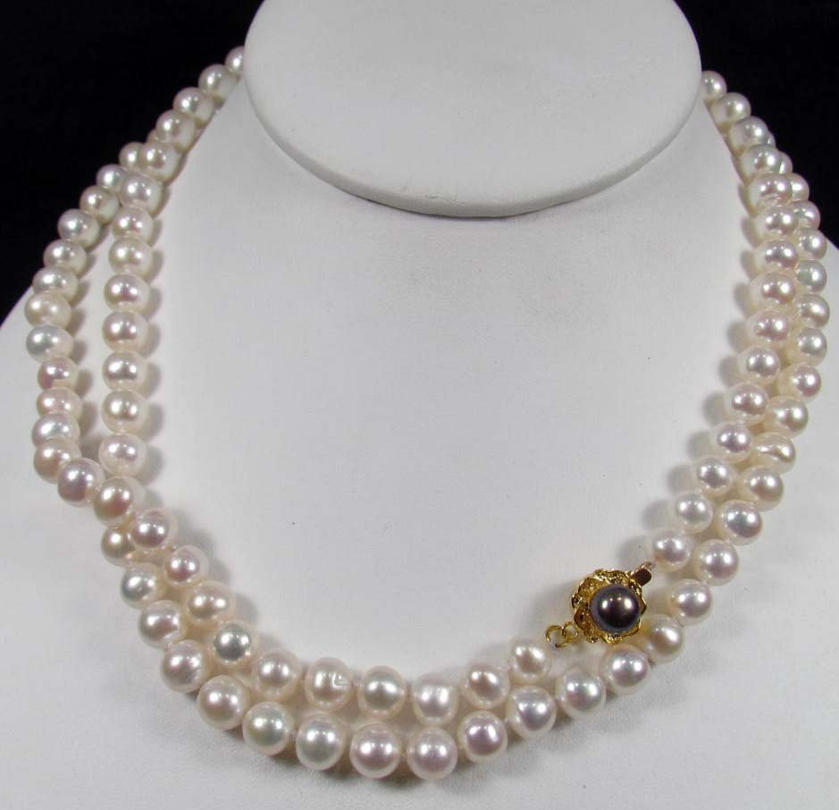 "24: 3428 - SALT WATER PEARL NECKLACE - 32"" - 7-8MM"