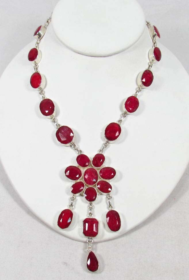 3: STERLING SILVER AND RUBY NECKLACE