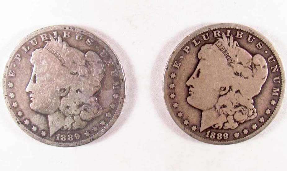 10: LOT OF 2 1889-O MORGAN SILVER DOLLARS - G/VG