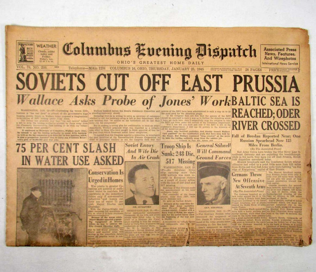 "351: WW2 ERA - 1/25/45 NEWSPAPER ""COLUMBUS EVENING DISP"