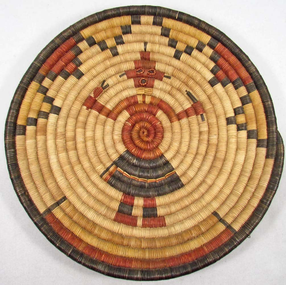 356: VINTAGE NATIVE AMERICAN INDIAN COILED PLAQUE - BAS
