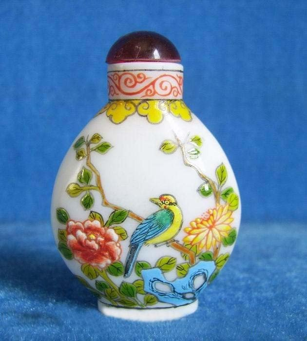 7: PEKING GLASS SNUFF BOTTLE - FLOWERS AND BIRDS - SIGN