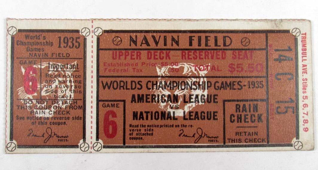 8: 1935 WORLD'S CHAMPIONSHIP BASEBALL GAME TICKET