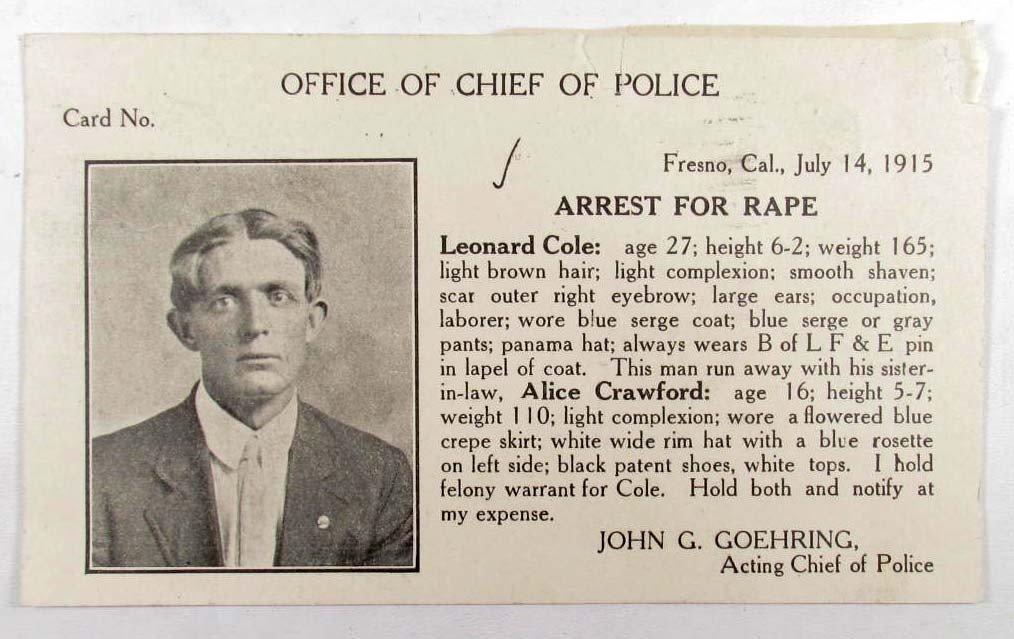 24: 1915 REWARD POSTCARD - WANTED FOR RAPE